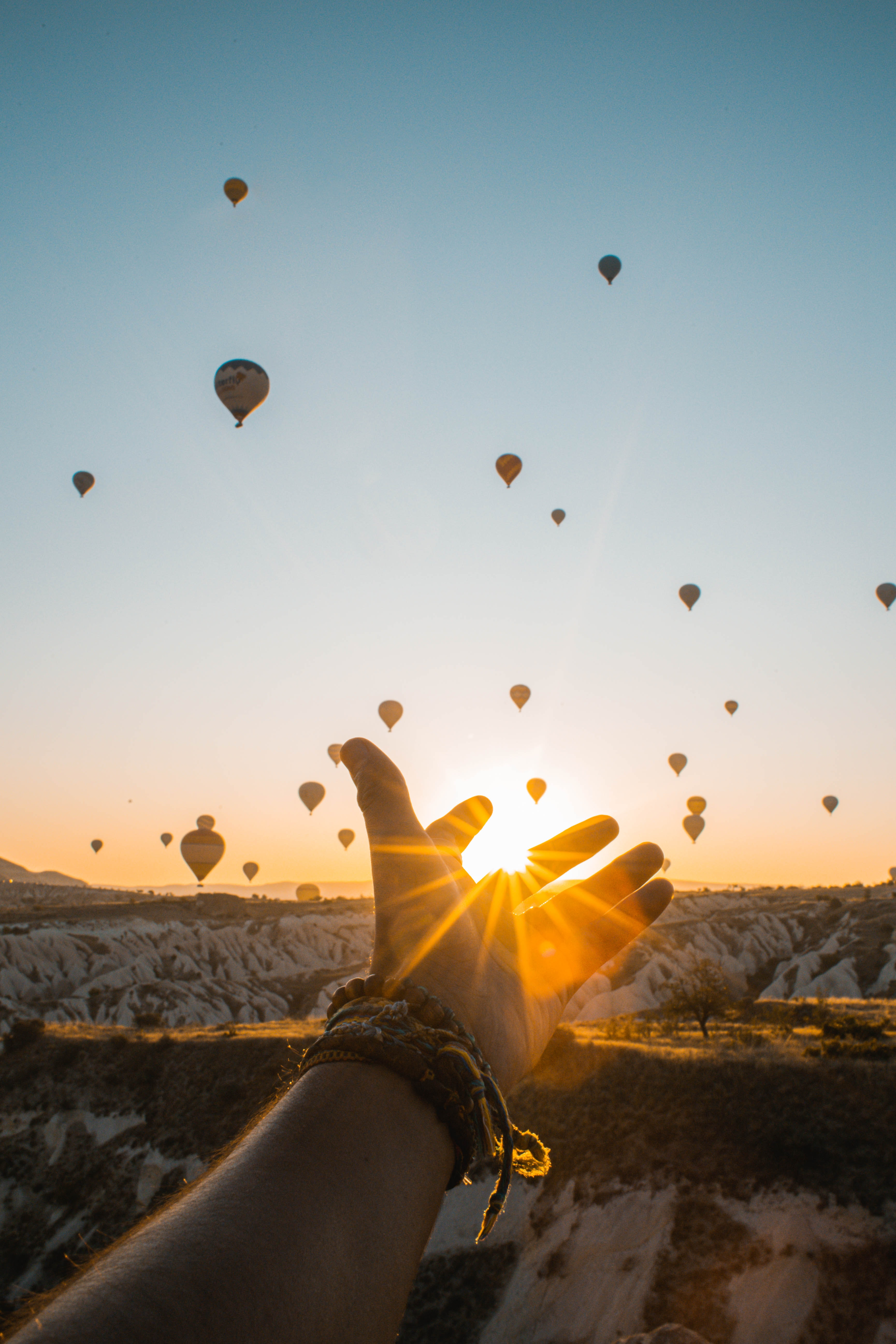photo-of-person-s-hand-across-flying-hot-air-balloons-during-2893685